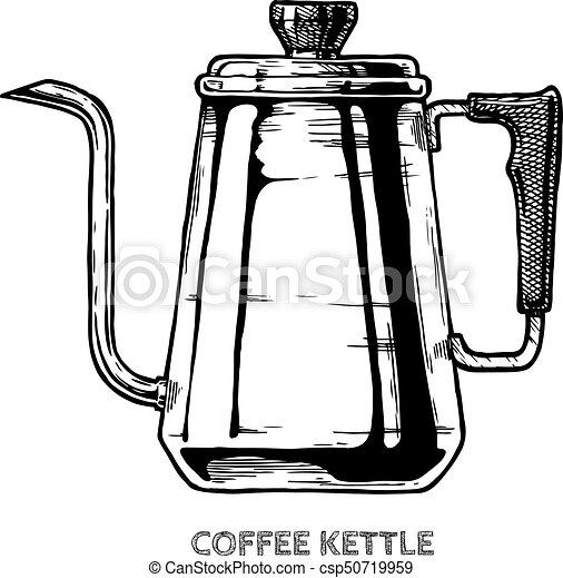 Kaffee kessel, abbildung. Bohnenkaffee, weinlese, kessel,... Clipart ...