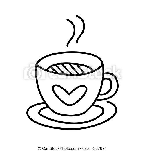 Kaffeetasse Gekritzel Abbildung Hand Vektor Tee Gezeichnet