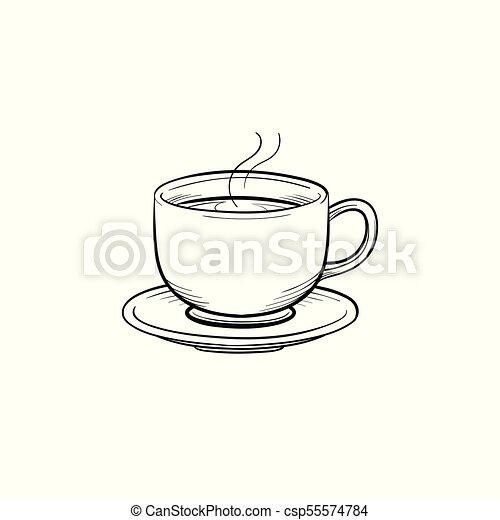 Kaffeetasse Skizze Hand Gezeichnet Icon Skizze Grobdarstellung