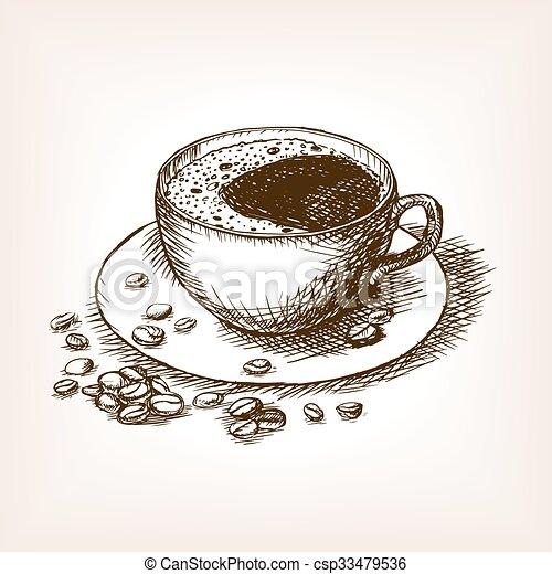 Kaffeetasse Skizze Hand Vektor Gezeichnet Stich Bohnenkaffee