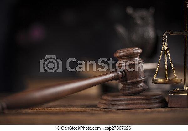 kalapács, fából való, téma, árverezői kalapács, törvény, bíró - csp27367626