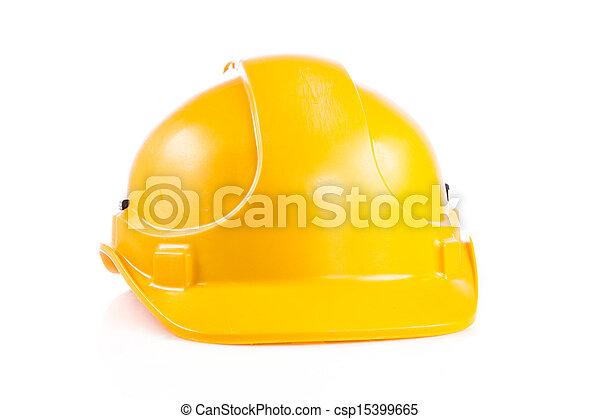 kalap, biztonság, elszigetelt, fehér, sárga, sisak, nehéz, háttér. - csp15399665