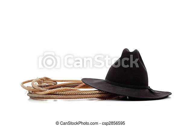 Fehér, lasszó, kalap, csizma, cowboy. Cowboy csizma, black