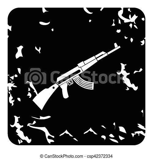 Kalashnikov machine icon, grunge style - csp42372334