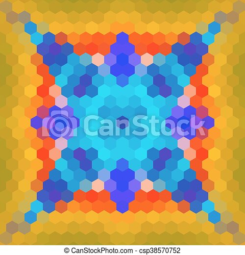 Kaleidoscopic low poly hexagon style vector mosaic background - csp38570752