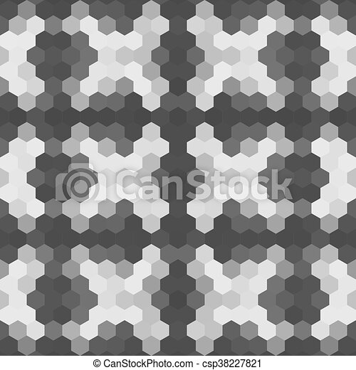 Kaleidoscopic low poly hexagon style vector mosaic background - csp38227821