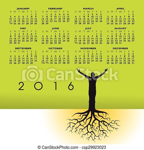 kalender, 2016, røder, mand - csp29923023