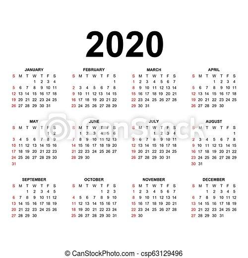 kalender 2020 vecka design startar lov svart colors. Black Bedroom Furniture Sets. Home Design Ideas