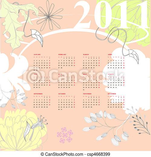 kalender, blumen, 2011, bunte - csp4668399