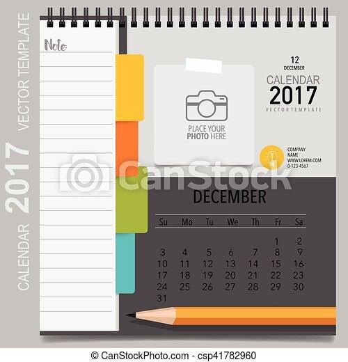 Kalender, planer, december., monatlich, vektor, schablone, 2017 ...