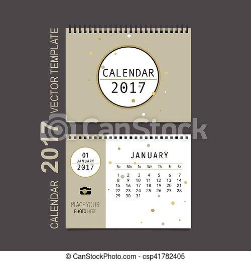 Kalender, planer, monatlich, january., vektor, schablone,... Vektor ...