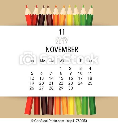 Kalender, planer, monatlich, november., vektor, schablone ...