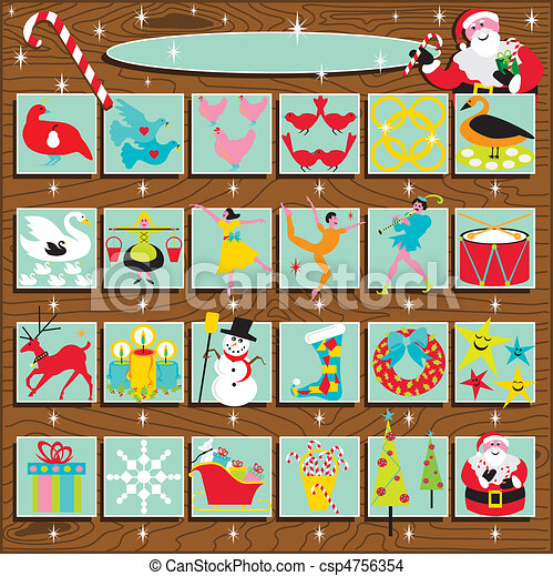 kalender, santa\'s, advent, retro - csp4756354