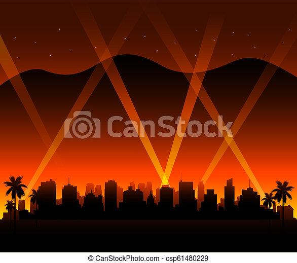kalifornia, hollywood, zachód słońca, tło, miasto - csp61480229