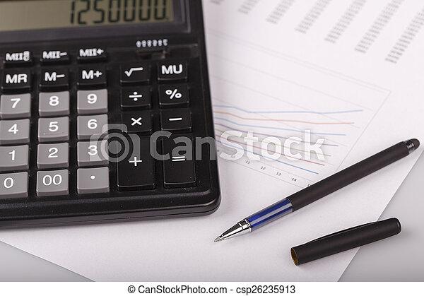 kalkulator, wykresy, handlowy, pióro - csp26235913