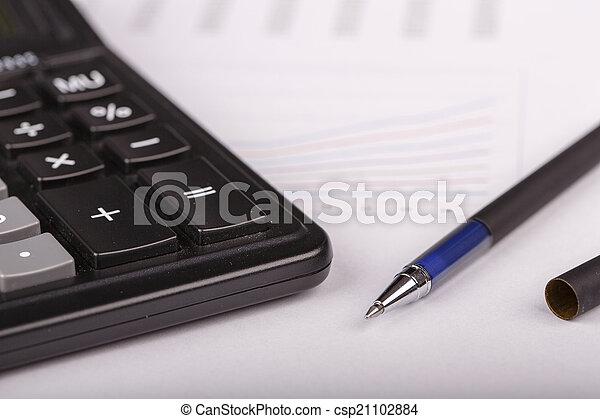 kalkulator, wykresy, handlowy, pióro - csp21102884