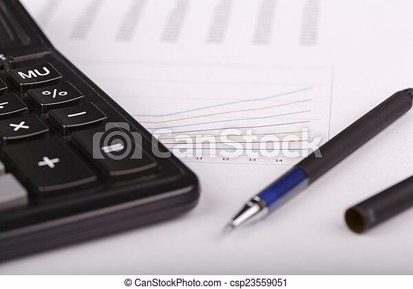 kalkulator, wykresy, handlowy, pióro - csp23559051