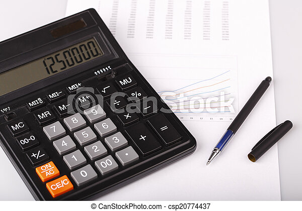 kalkulator, wykresy, handlowy, pióro - csp20774437