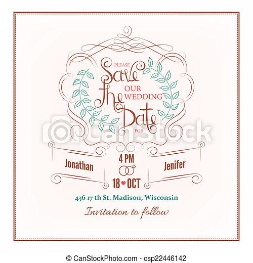 Kalligraphie Hochzeitskarten Datum Retten Karte