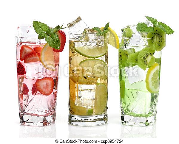 Kalte getränke, früchte. Würfel, getränk, eis, hintergrund ...