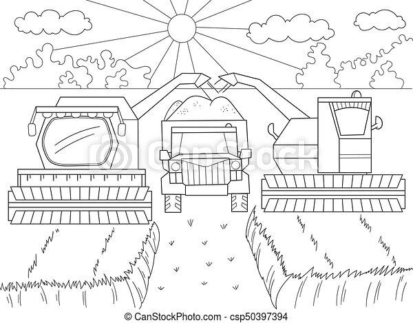 Kamaz., colorido, segador, caricatura, wheat., machinery., otoño ...