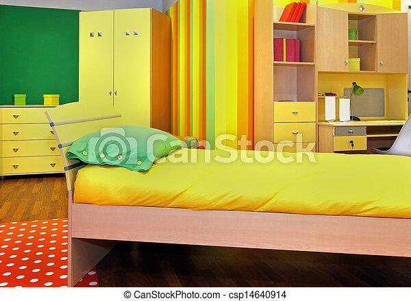 Kamer, gele, kind. Kind, moderne, gele, slaapkamer, interieur, meubel.