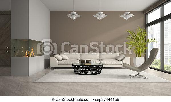 Kamer moderne vertolking palm interieur openhaard d
