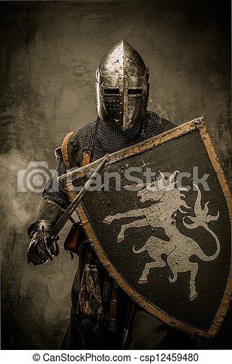 kamień, średniowieczny, ściana, rycerz, przeciw, miecz, tarcza - csp12459480