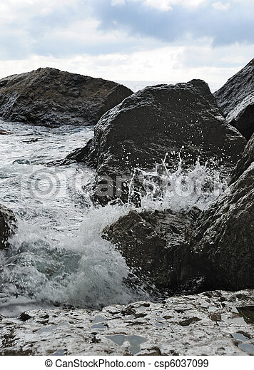 kamienie, o, bryzg, przybrzeżny, fale - csp6037099