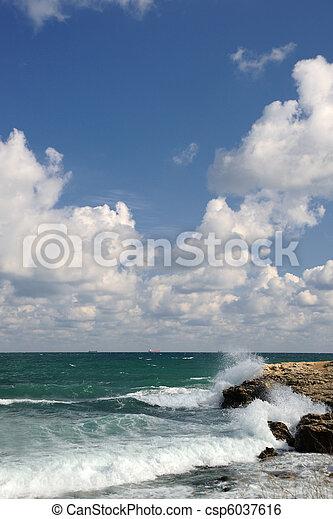 kamienie, o, bryzg, przybrzeżny, fale - csp6037616