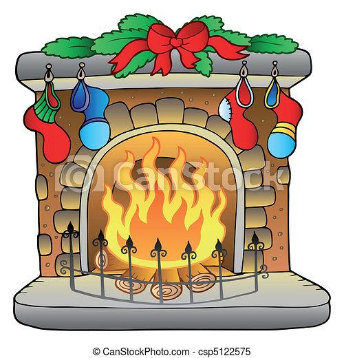 Weihnachts-Cartoon Kamin - csp5122575