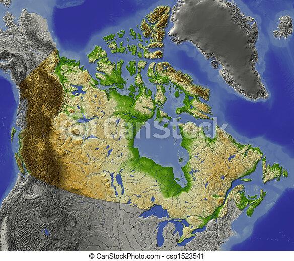 Kanada Arnyekolt Domborzati Terkep Ornagy Terep Folyok