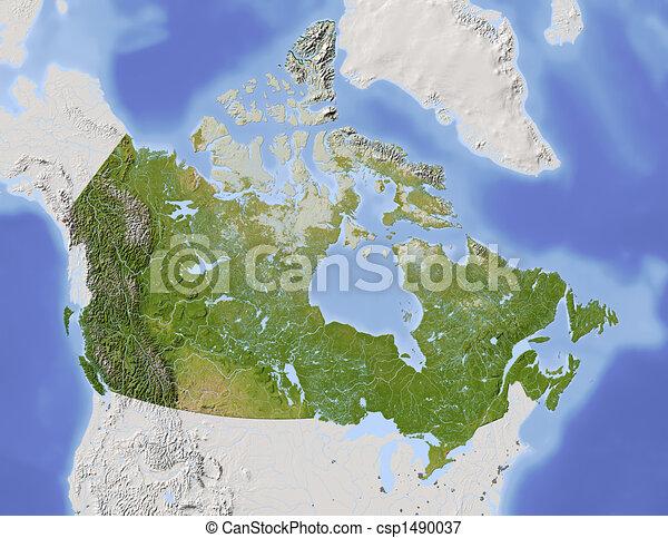 Kanada Arnyekolt Domborzati Terkep Varosi Ornagy Canada
