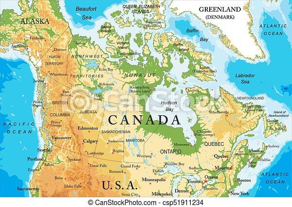 Karta Pa Kanada.Kanada Karta Fysisk Detaljerad Karta Alla Stor Hogt Vektor