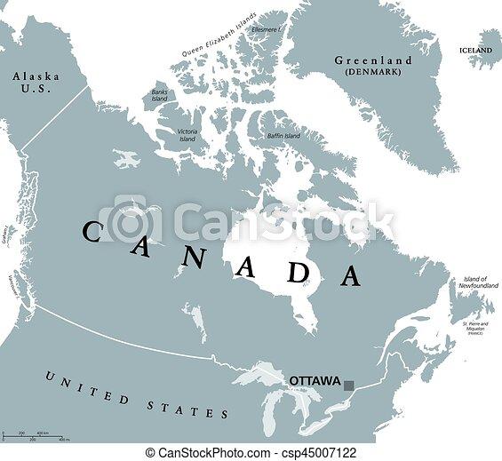 Karta Pa Kanada.Kanada Karta Politisk Medborgare Ottawa Markande Dens Kanada