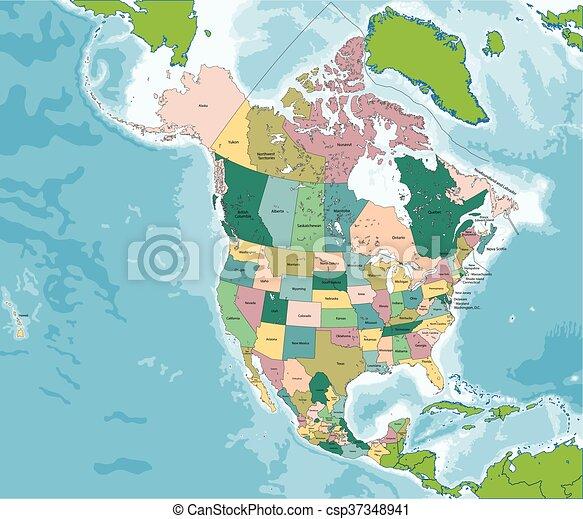 Mexiko Staaten Karte.Kanada Karte Nord Mexiko Usa Amerika