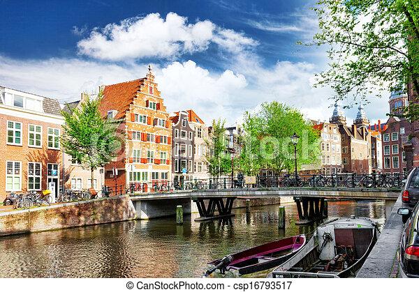 kanal, amsterdam, stadtzentrum - csp16793517