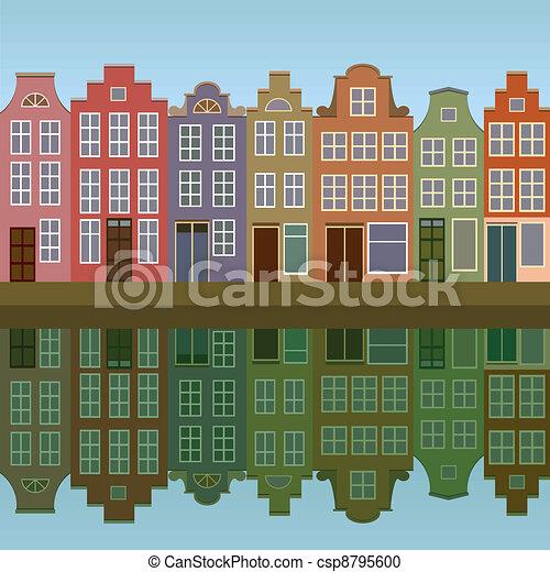 kanal, häusser, amsterdam - csp8795600