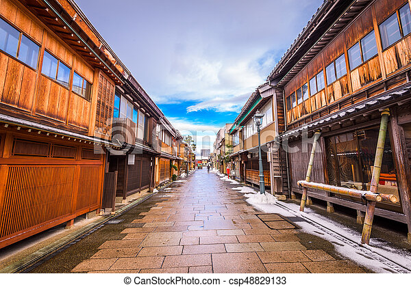 kanazawa, dějinný, okres, japonsko - csp48829133