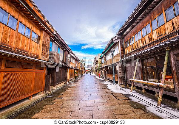 kanazawa, histórico, distrito, japão - csp48829133