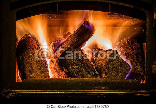 kandalló, firewoods, öreg, égető - csp21639760