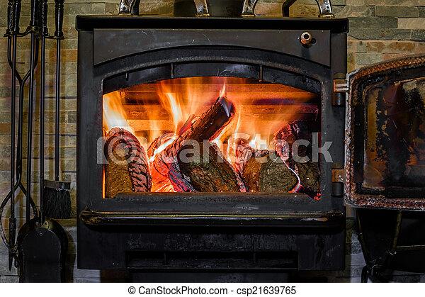 kandalló, firewoods, öreg, égető - csp21639765