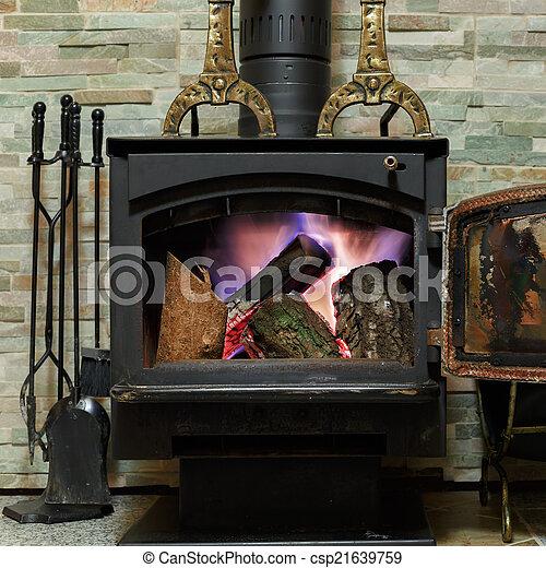 kandalló, firewoods, öreg, égető - csp21639759