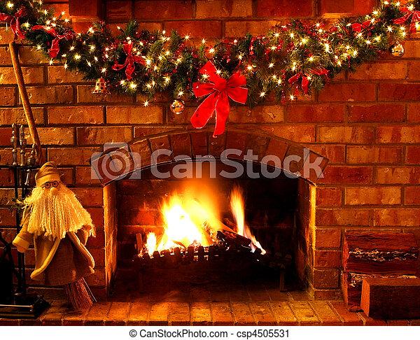 kandalló, karácsony - csp4505531