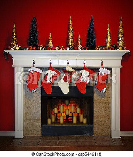 kandalló, karácsony - csp5446118