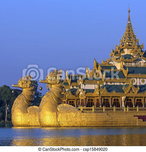 kandawgyi, myanmar, -, see, karaweik, yangon - csp15849020
