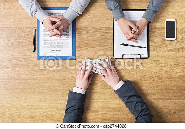 kandidaat, werkgever, sollicitatiegesprek, gedurende, bribing - csp27440261