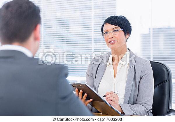 kandidat, kontroll, rekryterare, arbete samtalen, under - csp17603208