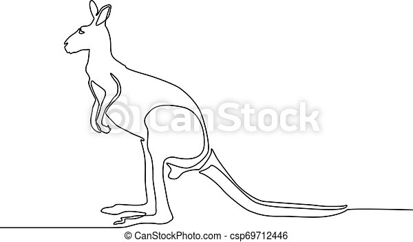 kangaroo continuous one line drawing eps vector csp