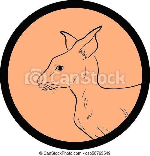 Kangaroo Face Closeup Vector - csp58763549